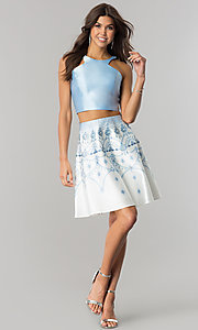 Image of two-piece homecoming dress with jeweled print skirt. Style: OD-4495 Detail Image 1