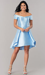 Image of high-low short satin off-shoulder homecoming dress. Style: OD-4503 Detail Image 1