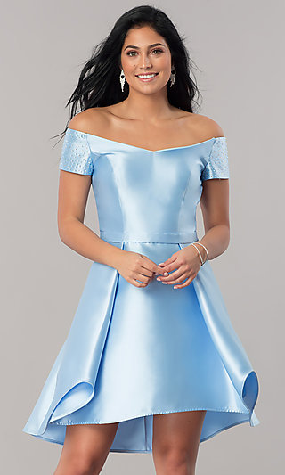 High-Low Short Satin Off-Shoulder Homecoming Dress