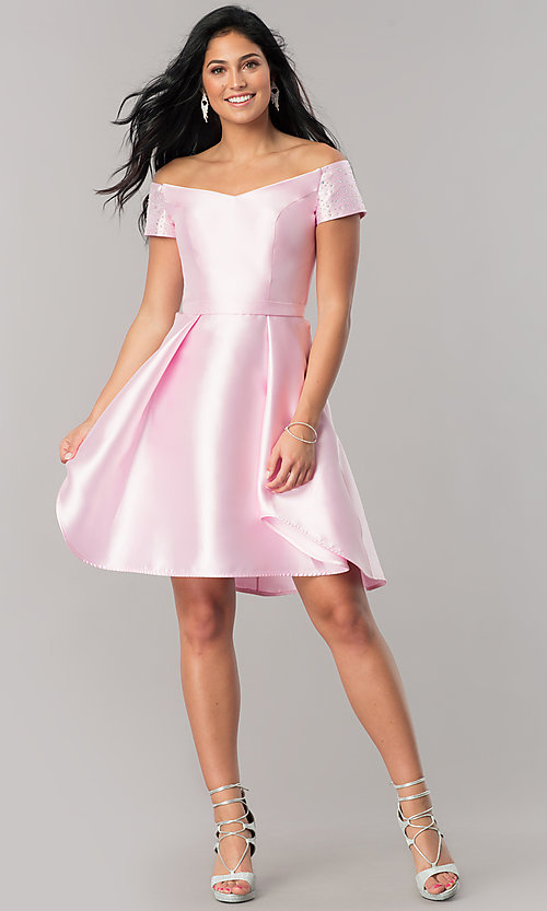 Image of high-low short satin off-shoulder homecoming dress. Style: OD-4503 Detail Image 3