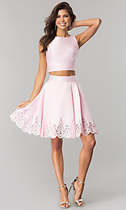 Image of laser-cut short two-piece satin homecoming dress. Style: OD-8331 Detail Image 3