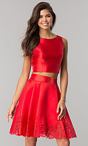 Image of laser-cut short two-piece satin homecoming dress. Style: OD-8331 Front Image