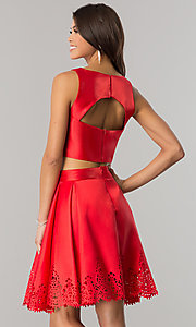 Image of laser-cut short two-piece satin homecoming dress. Style: OD-8331 Back Image
