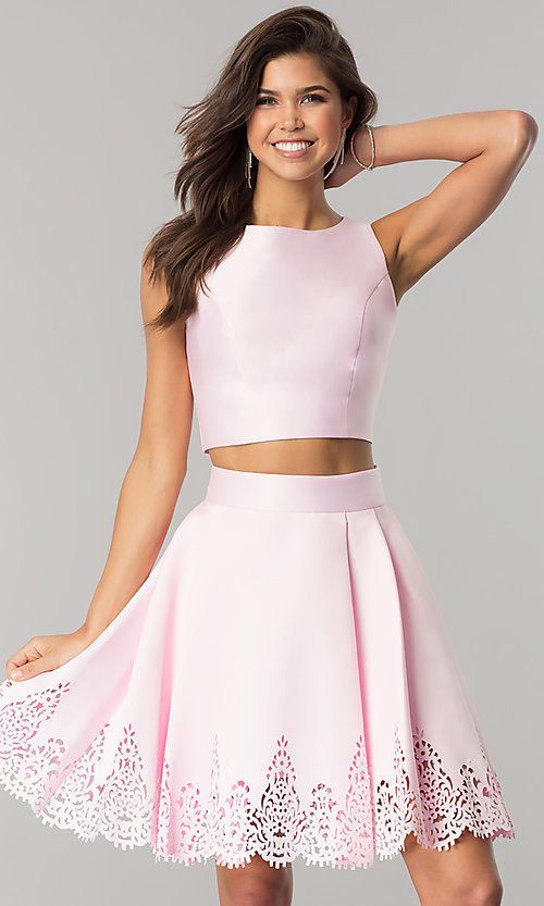 Image of laser-cut short two-piece satin homecoming dress. Style: OD-8331 Detail Image 1