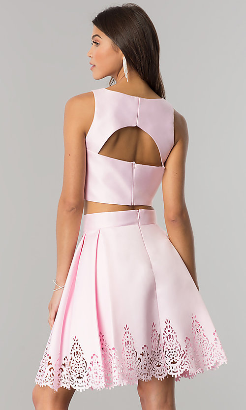 Image of laser-cut short two-piece satin homecoming dress. Style: OD-8331 Detail Image 2