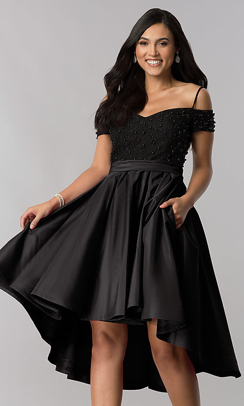 Image of high-low homecoming dress with beaded-lace bodice. Style: OD-9134 Detail Image 2