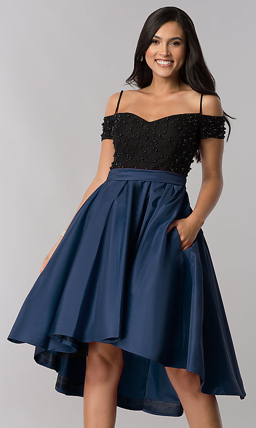 Image of high-low homecoming dress with beaded-lace bodice. Style: OD-9134 Detail Image 1