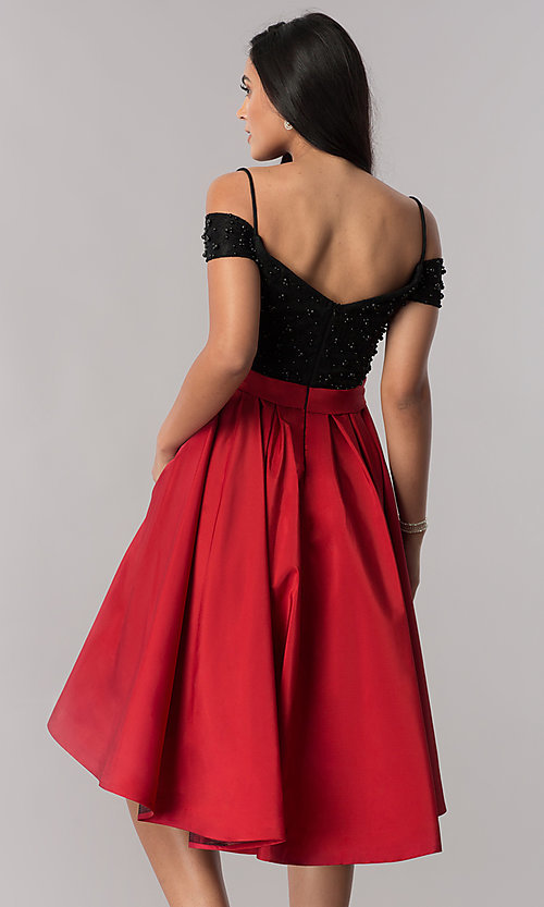 Image of high-low homecoming dress with beaded-lace bodice. Style: OD-9134 Back Image