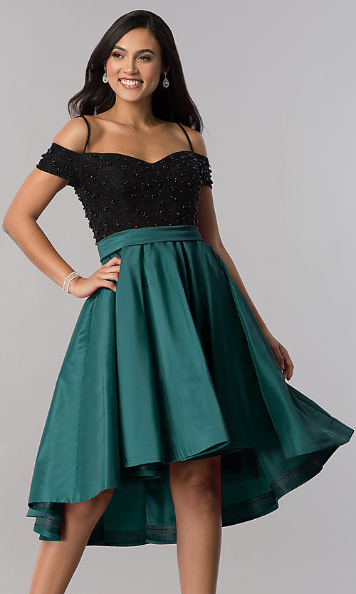 Image of high-low homecoming dress with beaded-lace bodice. Style: OD-9134 Front Image