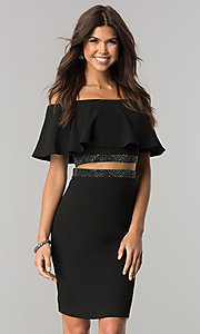 Short Off-the-Shoulder Homecoming Dress with Sheer Waist