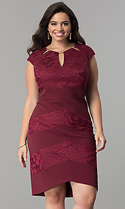 Short Plus-Size Party Dress with Brocade Print