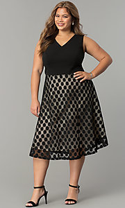 Short Tea-Length Polka Dot Plus-Size Party Dress