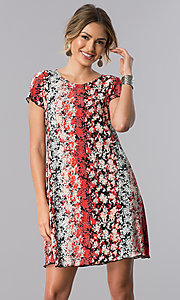 Short Print Shift Casual Party Dress