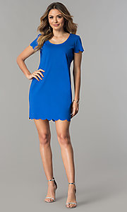Image of short-sleeve short shift party dress. Style: JU-TI-T0358 Detail Image 3