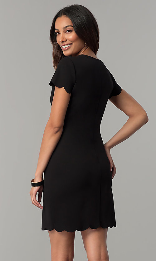 Image of short-sleeve short shift party dress. Style: JU-TI-T0358 Back Image