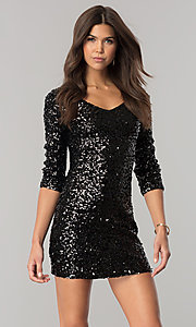 Short Sequin-Net Party Dress with 3/4 Sleeves