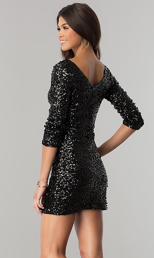Image of sequin-net party dress with 3/4 sleeves. Style: VE-638-213985 Back Image
