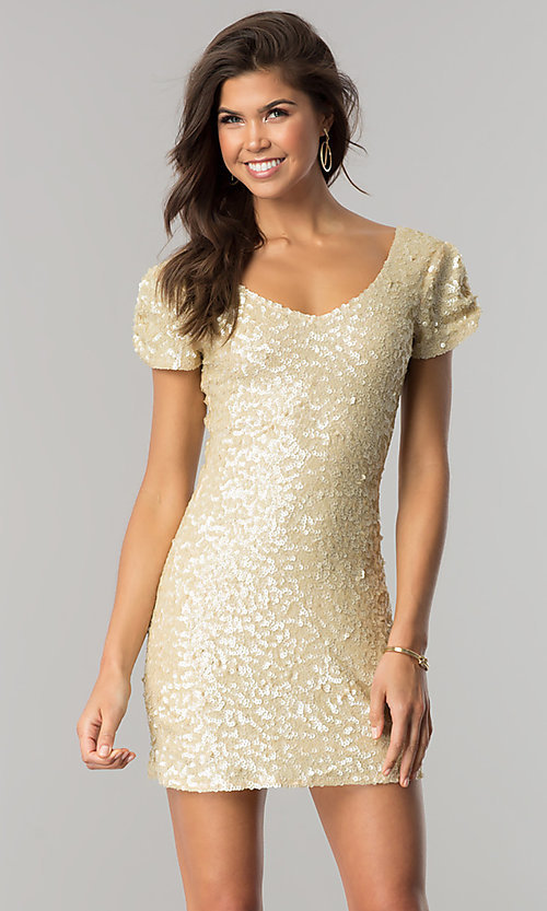 Image of tulip-sleeved short sequin homecoming party dress. Style: VE-638-213982 Detail Image 2