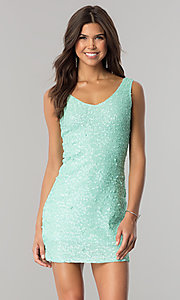Image of short sequin-net party dress with scoop neckline. Style: VE-638-213984 Detail Image 2