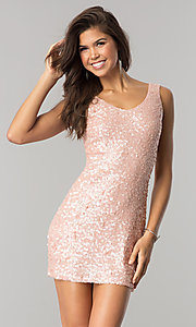 Image of short sequin-net party dress with scoop neckline. Style: VE-638-213984 Detail Image 1