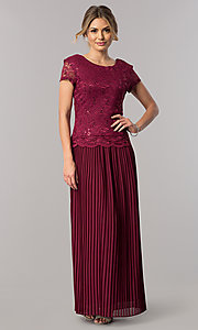 Image of short-sleeve pleated long mother-of-the-bride dress. Style: SF-8839 Detail Image 2