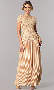 Image of short-sleeve pleated long mother-of-the-bride dress. Style: SF-8839 Detail Image 1