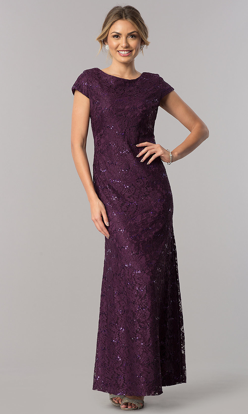 a73c7f9c0e7f Image of short-sleeve long lace wedding-guest dress. Style: SF-. Tap to  expand