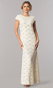 Image of short-sleeve long lace wedding-guest dress. Style: SF-8841 Detail Image 1