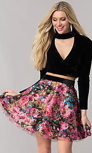 Long-Sleeve Velvet Homecoming Dress with Print Skirt