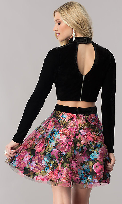 Image of long-sleeve velvet homecoming dress with print skirt. Style: TX-291043tx4i Back Image