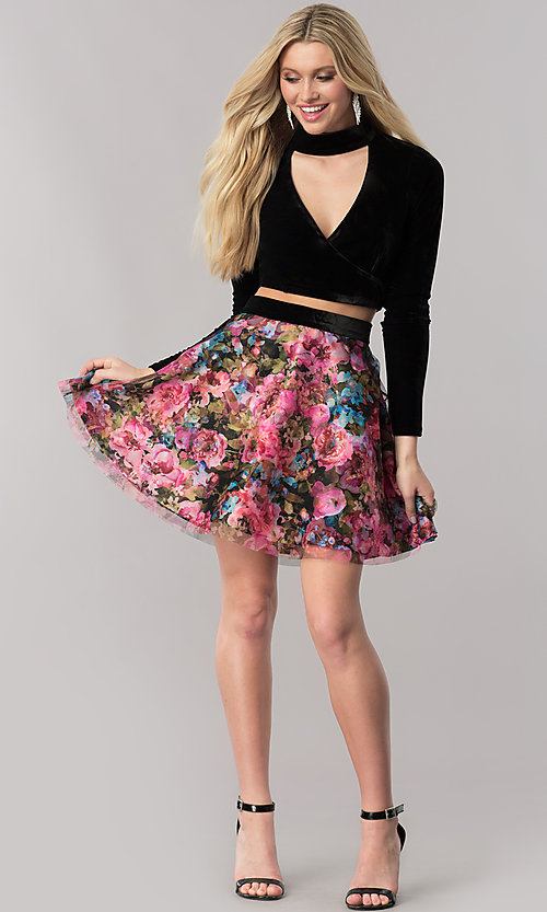 Image of long-sleeve velvet homecoming dress with print skirt. Style: TX-291043tx4i Detail Image 1