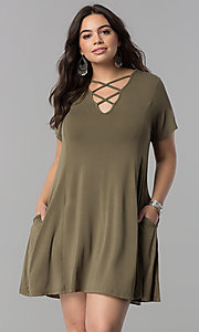 Short Sleeve Criss-cross V-Neck Casual Shift Dress