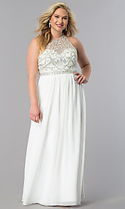Image of plus-size formal dress with open-back beaded bodice. Style: JT-609P Front Image