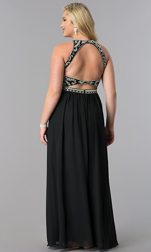 Image of plus-size formal dress with open-back beaded bodice. Style: JT-609P Back Image