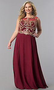Image of long plus-size prom dress with lace applique bodice. Style: FB-GL2316P Front Image