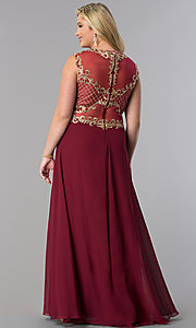 Image of long plus-size prom dress with lace applique bodice. Style: FB-GL2316P Back Image