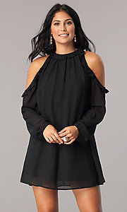 Cold-Shoulder Short Shift Party Dress with Sleeves