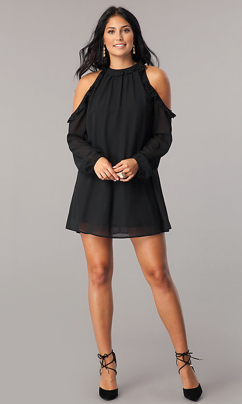 Image of cold-shoulder short shift party dress with sleeves. Style: VJ-LD41846 Detail Image 1