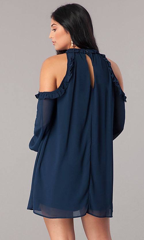 Image of cold-shoulder short shift party dress with sleeves. Style: VJ-LD41846 Detail Image 3