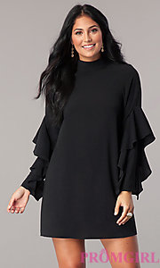 Short Long-Sleeve Shift Day-to-Night Party Dress