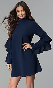 Image of short long-sleeve shift day-to-night party dress. Style: VJ-LD41836 Detail Image 2
