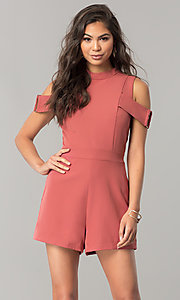 Image of short cold-shoulder pink designer romper by XOXO. Style: XO-9843LLY5 Detail Image 1