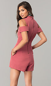 Image of short cold-shoulder pink designer romper by XOXO. Style: XO-9843LLY5 Back Image