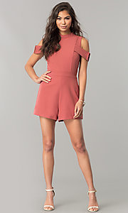 Image of short cold-shoulder pink designer romper by XOXO. Style: XO-9843LLY5 Detail Image 2
