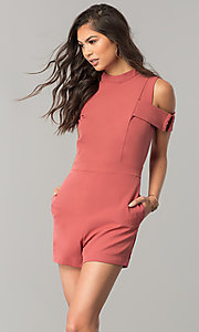 Image of short cold-shoulder pink designer romper by XOXO. Style: XO-9843LLY5 Front Image
