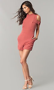 Image of short cold-shoulder pink designer romper by XOXO. Style: XO-9843LLY5 Detail Image 3