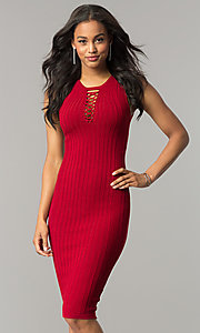 Short Cranberry Red Midi Party Dress