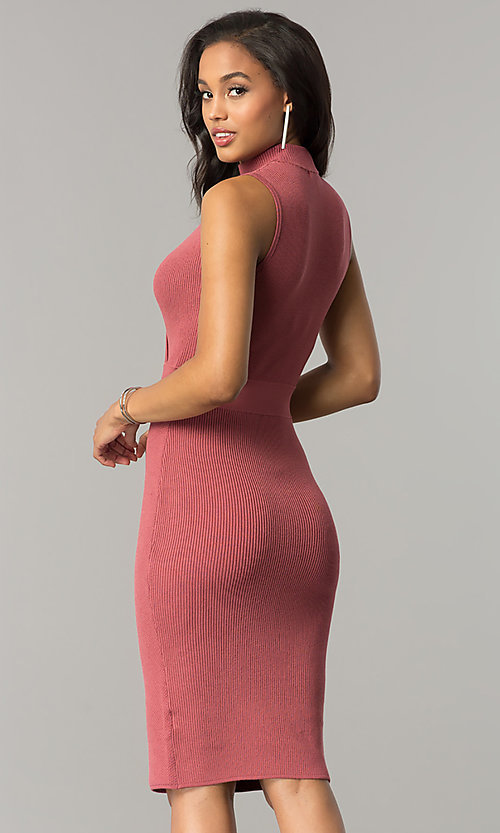 Image of short midi v-neck party dress with choker collar. Style: XO-4356XSW5 Detail Image 3