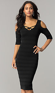 Short Fitted Midi Party Dress with Cold Shoulders
