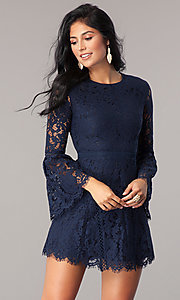 Image of long bell-sleeve short navy blue lace party dress. Style: MT-8840 Front Image